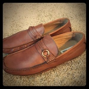 Leather brown men loafers